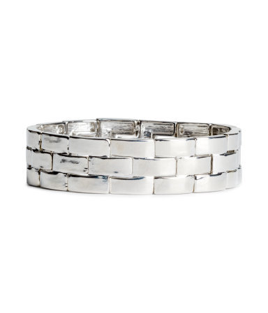 Elasticated Bracelet - predominant colour: silver; occasions: evening, occasion; style: bangle/standard; size: standard; material: chain/metal; finish: metallic; season: s/s 2014