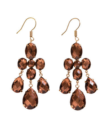 Long Earrings - predominant colour: chocolate brown; occasions: evening, occasion; style: chandelier; length: long; size: standard; material: chain/metal; fastening: pierced; finish: metallic; embellishment: jewels/stone; season: s/s 2014