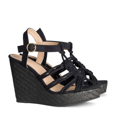 Sandals With A Wedge Heel - predominant colour: black; occasions: casual; ankle detail: ankle strap; heel: wedge; toe: open toe/peeptoe; style: strappy; finish: plain; pattern: plain; heel height: very high; material: faux suede; shoe detail: platform; season: s/s 2014