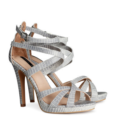 Leather Sandals - predominant colour: light grey; occasions: evening, occasion; material: faux leather; ankle detail: ankle strap; heel: stiletto; toe: open toe/peeptoe; style: strappy; finish: plain; pattern: animal print; heel height: very high; shoe detail: platform; season: s/s 2014