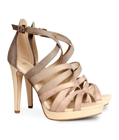 Strappy Sandals - predominant colour: camel; secondary colour: taupe; occasions: evening, occasion; material: faux leather; ankle detail: ankle strap; heel: stiletto; toe: open toe/peeptoe; style: strappy; finish: plain; pattern: plain; heel height: very high; shoe detail: platform; season: s/s 2014