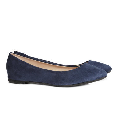 Ballet Pumps - predominant colour: navy; occasions: casual, work, creative work; heel height: flat; toe: round toe; style: ballerinas / pumps; finish: plain; pattern: plain; material: faux suede; season: s/s 2014