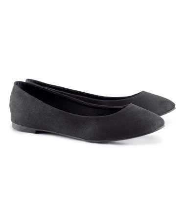Ballet Pumps - predominant colour: black; occasions: casual, work, creative work; heel height: flat; toe: round toe; style: ballerinas / pumps; finish: plain; pattern: plain; material: faux suede; season: s/s 2014