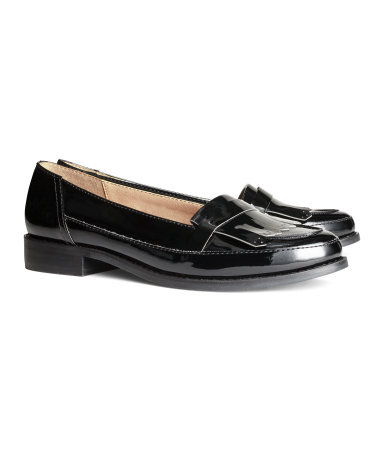 Patent Loafers - predominant colour: black; occasions: casual, work, creative work; material: faux leather; heel height: flat; toe: round toe; style: moccasins; finish: patent; pattern: plain; season: s/s 2014