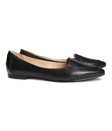 Pointed Loafers - predominant colour: black; occasions: casual, work, creative work; material: faux leather; heel height: flat; toe: pointed toe; style: loafers; finish: plain; pattern: animal print; season: s/s 2014