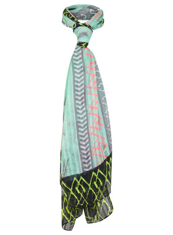 Festival Neon Scarf - occasions: casual, creative work; predominant colour: multicoloured; type of pattern: heavy; style: regular; size: standard; material: fabric; pattern: patterned/print; trends: world traveller; season: s/s 2014; multicoloured: multicoloured