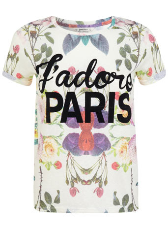 Petites J'adore Paris Tee - style: t-shirt; occasions: casual; length: standard; fibres: cotton - mix; fit: straight cut; neckline: crew; predominant colour: multicoloured; sleeve length: short sleeve; sleeve style: standard; pattern type: fabric; pattern size: standard; pattern: patterned/print; texture group: jersey - stretchy/drapey; trends: logos; season: s/s 2014; multicoloured: multicoloured