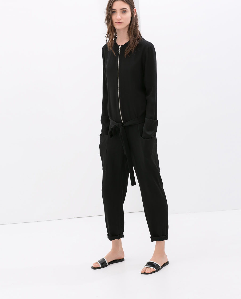 Studio Zip Jumpsuit - pattern: plain; waist detail: belted waist/tie at waist/drawstring; predominant colour: black; occasions: casual; length: ankle length; fit: body skimming; neckline: crew; sleeve length: long sleeve; sleeve style: standard; texture group: silky - light; style: jumpsuit; pattern type: fabric; fibres: viscose/rayon - mix; season: s/s 2014
