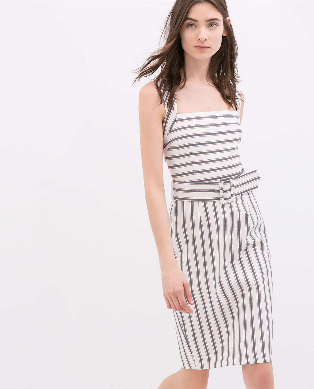 Striped Dress With Wide Straps - sleeve style: standard vest straps/shoulder straps; fit: tailored/fitted; pattern: horizontal stripes; style: sundress; waist detail: belted waist/tie at waist/drawstring; predominant colour: white; secondary colour: pale blue; occasions: casual, creative work; length: just above the knee; fibres: polyester/polyamide - stretch; sleeve length: sleeveless; neckline: low square neck; pattern type: fabric; pattern size: standard; texture group: other - light to midweight; season: s/s 2014