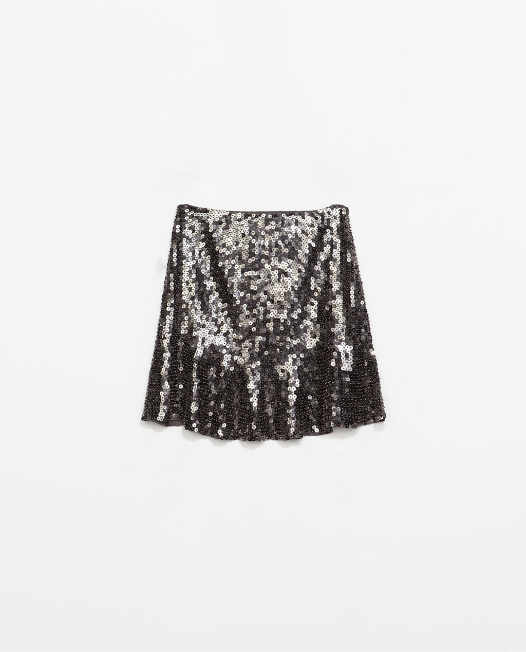 Embroidered Sequinned Flared Skirt - length: mini; pattern: plain; fit: loose/voluminous; waist: mid/regular rise; occasions: evening; style: mini skirt; pattern type: fabric; texture group: other - light to midweight; embellishment: sequins; trends: summer sparkle, shimmery metallics; predominant colour: pewter; season: s/s 2014