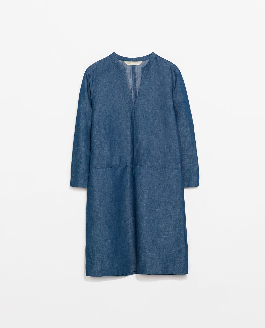 Denim Shirt Dress - style: tunic; length: mid thigh; pattern: plain; predominant colour: denim; occasions: casual; fit: straight cut; neckline: collarstand & mandarin with v-neck; fibres: cotton - mix; sleeve length: 3/4 length; sleeve style: standard; texture group: denim; pattern type: fabric; season: s/s 2014