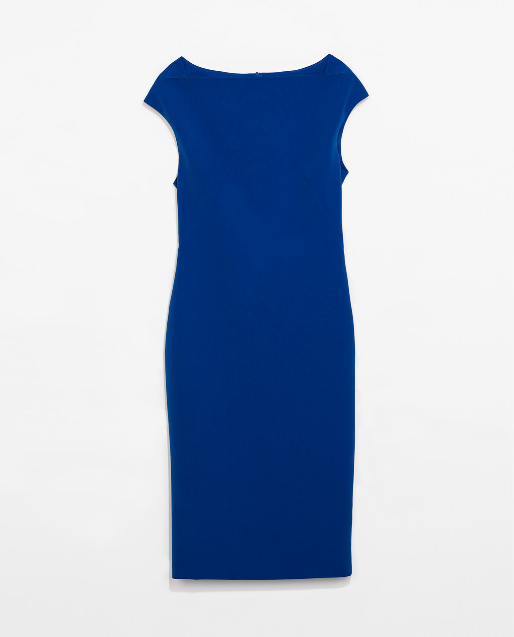 Drop Sleeved Shift Dress - style: shift; neckline: slash/boat neckline; sleeve style: capped; fit: tailored/fitted; pattern: plain; predominant colour: royal blue; occasions: work, occasion, creative work; length: on the knee; fibres: polyester/polyamide - stretch; sleeve length: short sleeve; pattern type: fabric; texture group: woven light midweight; season: s/s 2014
