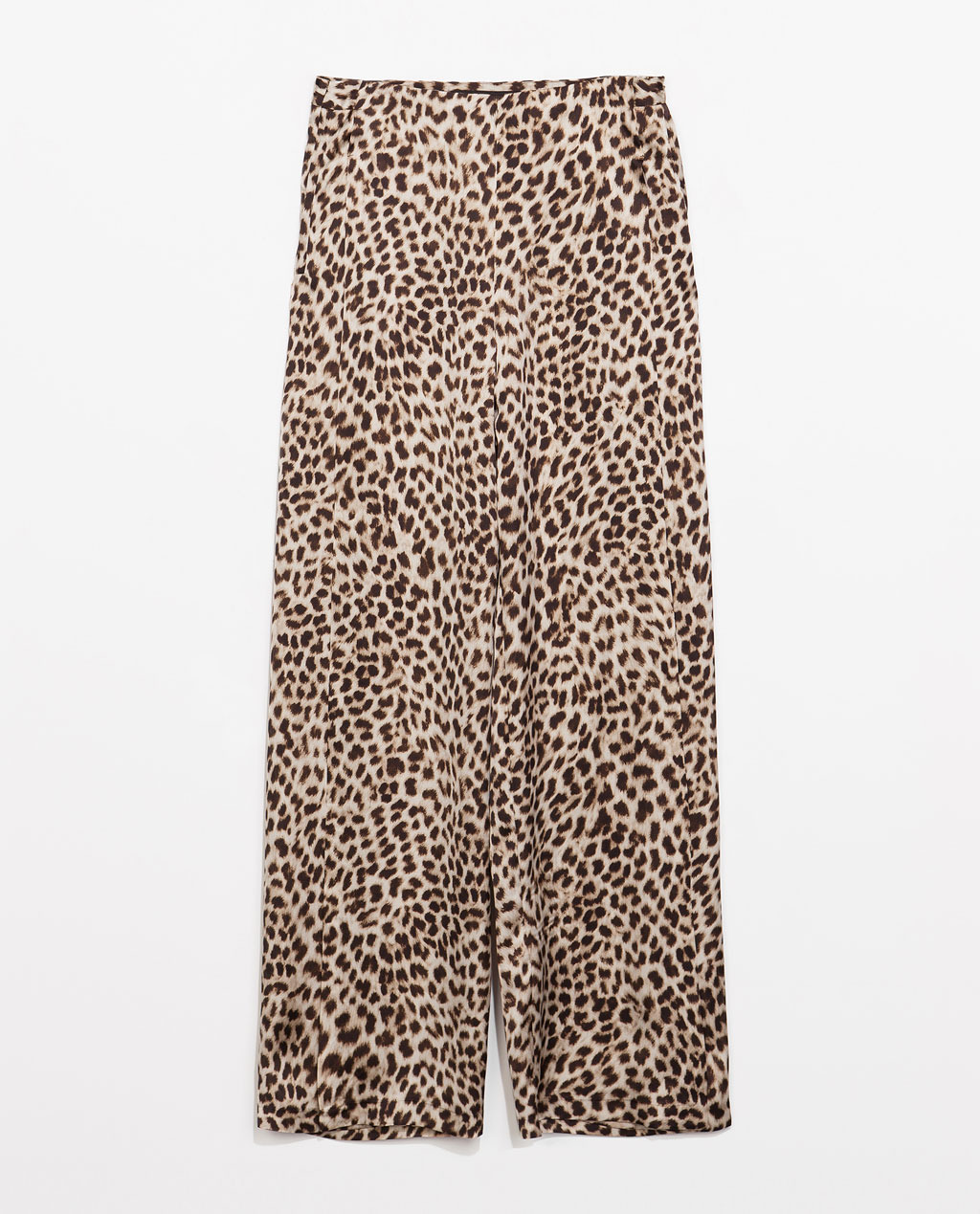 Animal Print Loose Trousers - length: standard; style: palazzo; waist: mid/regular rise; secondary colour: chocolate brown; predominant colour: stone; occasions: casual, creative work; fibres: polyester/polyamide - 100%; fit: wide leg; pattern type: fabric; pattern: animal print; texture group: other - light to midweight; season: s/s 2014; pattern size: standard (bottom)
