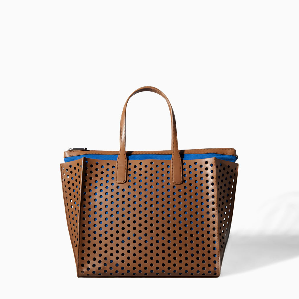 Perforated Shopper Bag - secondary colour: diva blue; predominant colour: chocolate brown; occasions: casual, creative work; type of pattern: standard; style: tote; length: handle; size: oversized; material: leather; pattern: plain; finish: plain; season: s/s 2014
