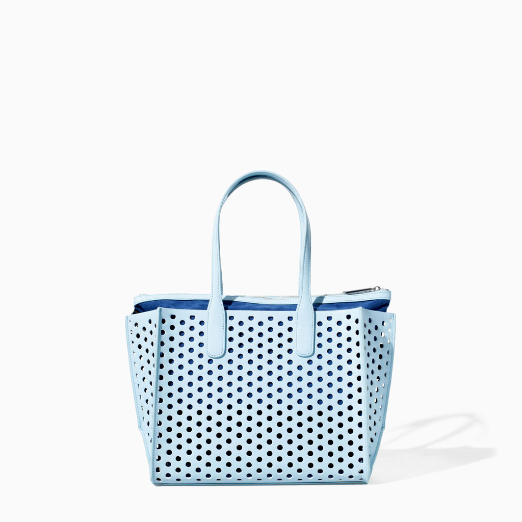 Perforated Mini Shopper - predominant colour: pale blue; occasions: casual, creative work; type of pattern: standard; style: tote; length: handle; size: oversized; material: faux leather; pattern: plain; finish: plain; trends: sorbet shades; season: s/s 2014