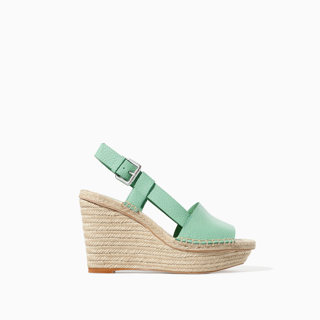 Leather Wedge With Wide Strap - predominant colour: pistachio; secondary colour: stone; occasions: casual, holiday; material: leather; heel: wedge; toe: open toe/peeptoe; style: standard; finish: plain; pattern: plain; heel height: very high; shoe detail: platform; trends: sorbet shades; season: s/s 2014