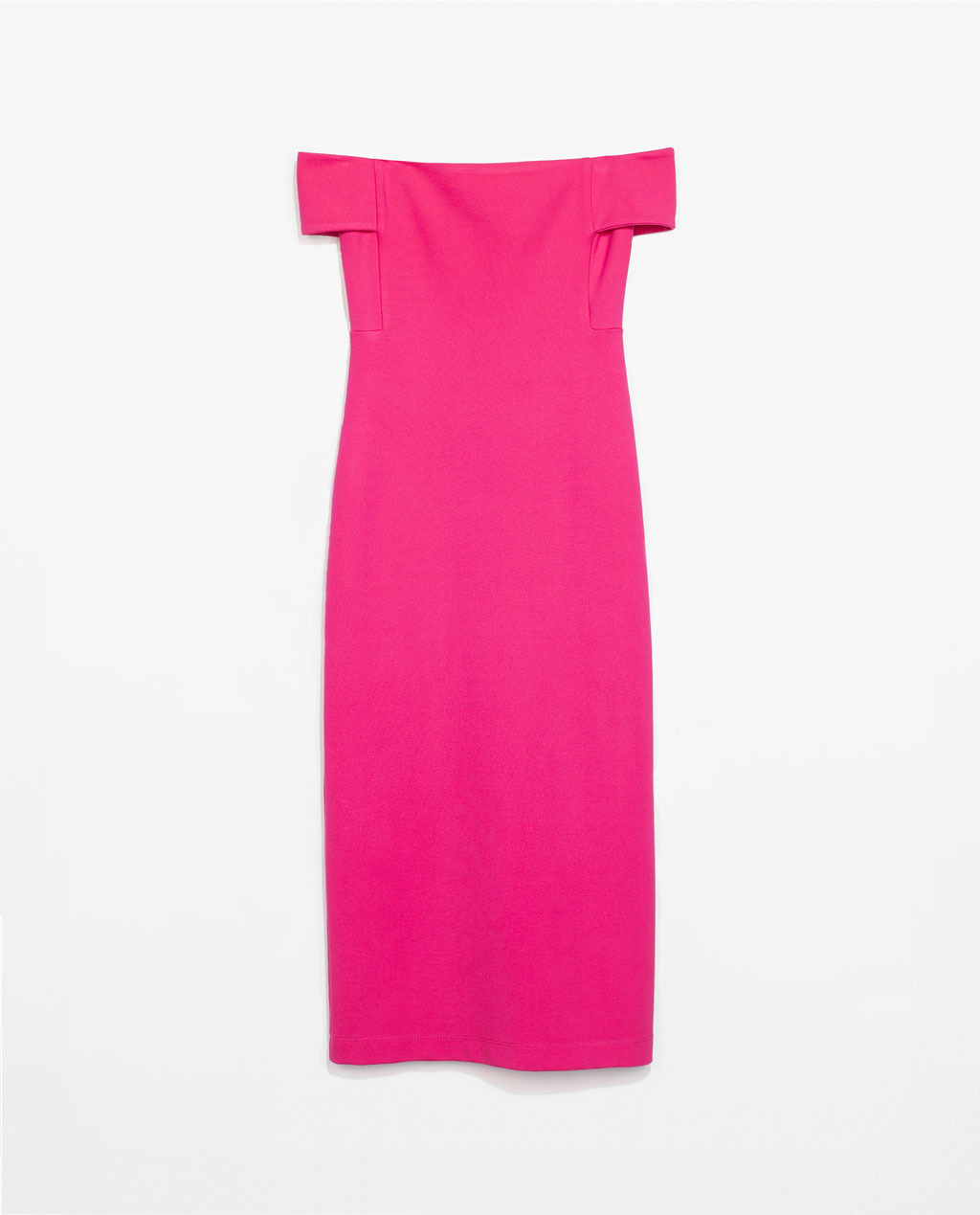 Tube Dress - length: below the knee; neckline: off the shoulder; fit: tight; pattern: plain; style: bodycon; predominant colour: hot pink; occasions: casual, occasion; fibres: viscose/rayon - stretch; sleeve length: short sleeve; sleeve style: standard; pattern type: fabric; texture group: jersey - stretchy/drapey; trends: hot brights; season: s/s 2014