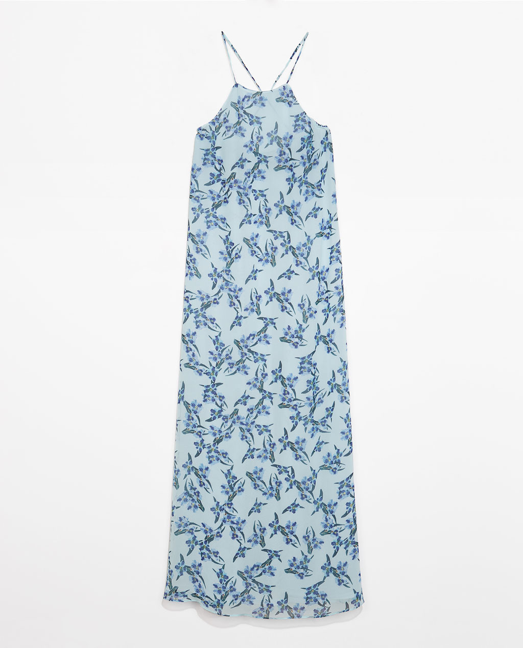 Long Printed Dress - sleeve style: spaghetti straps; fit: loose; style: maxi dress; neckline: low halter neck; predominant colour: pale blue; secondary colour: emerald green; occasions: casual, holiday; length: floor length; fibres: polyester/polyamide - 100%; sleeve length: sleeveless; pattern type: fabric; pattern size: standard; pattern: patterned/print; texture group: other - light to midweight; season: s/s 2014