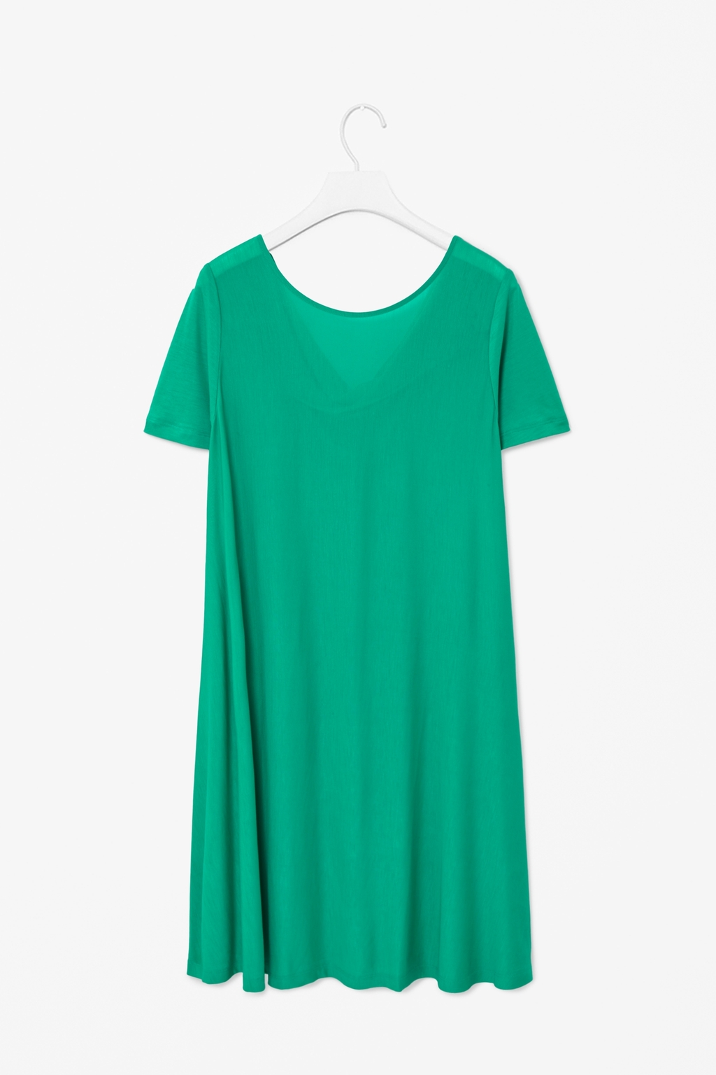 Draped Back Dress - style: t-shirt; neckline: round neck; fit: loose; pattern: plain; back detail: back revealing; predominant colour: mint green; occasions: casual; length: on the knee; fibres: cotton - 100%; sleeve length: short sleeve; sleeve style: standard; pattern type: fabric; texture group: jersey - stretchy/drapey; season: s/s 2014