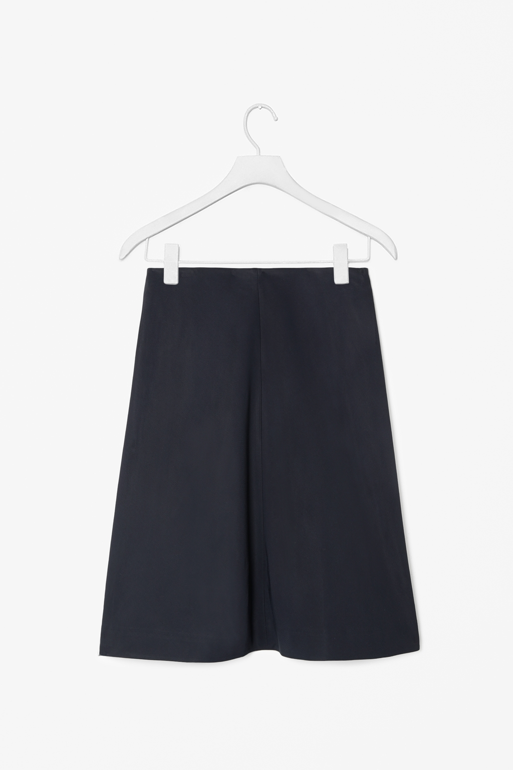 Skirt With Back Pleats - pattern: plain; style: full/prom skirt; fit: loose/voluminous; waist: high rise; predominant colour: navy; occasions: casual, work, creative work; length: on the knee; pattern type: fabric; texture group: woven light midweight; fibres: viscose/rayon - mix; season: s/s 2014