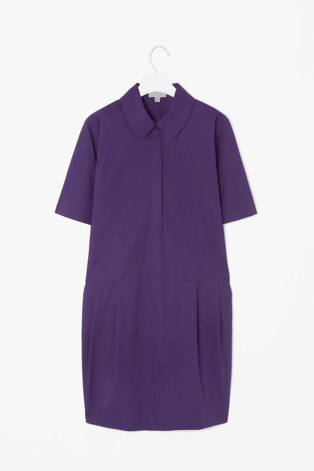Rounded Collar Shirt Dress - style: shirt; length: mid thigh; neckline: shirt collar/peter pan/zip with opening; pattern: plain; predominant colour: purple; occasions: casual, evening, creative work; fit: straight cut; fibres: cotton - 100%; sleeve length: short sleeve; sleeve style: standard; texture group: cotton feel fabrics; pattern type: fabric; season: s/s 2014