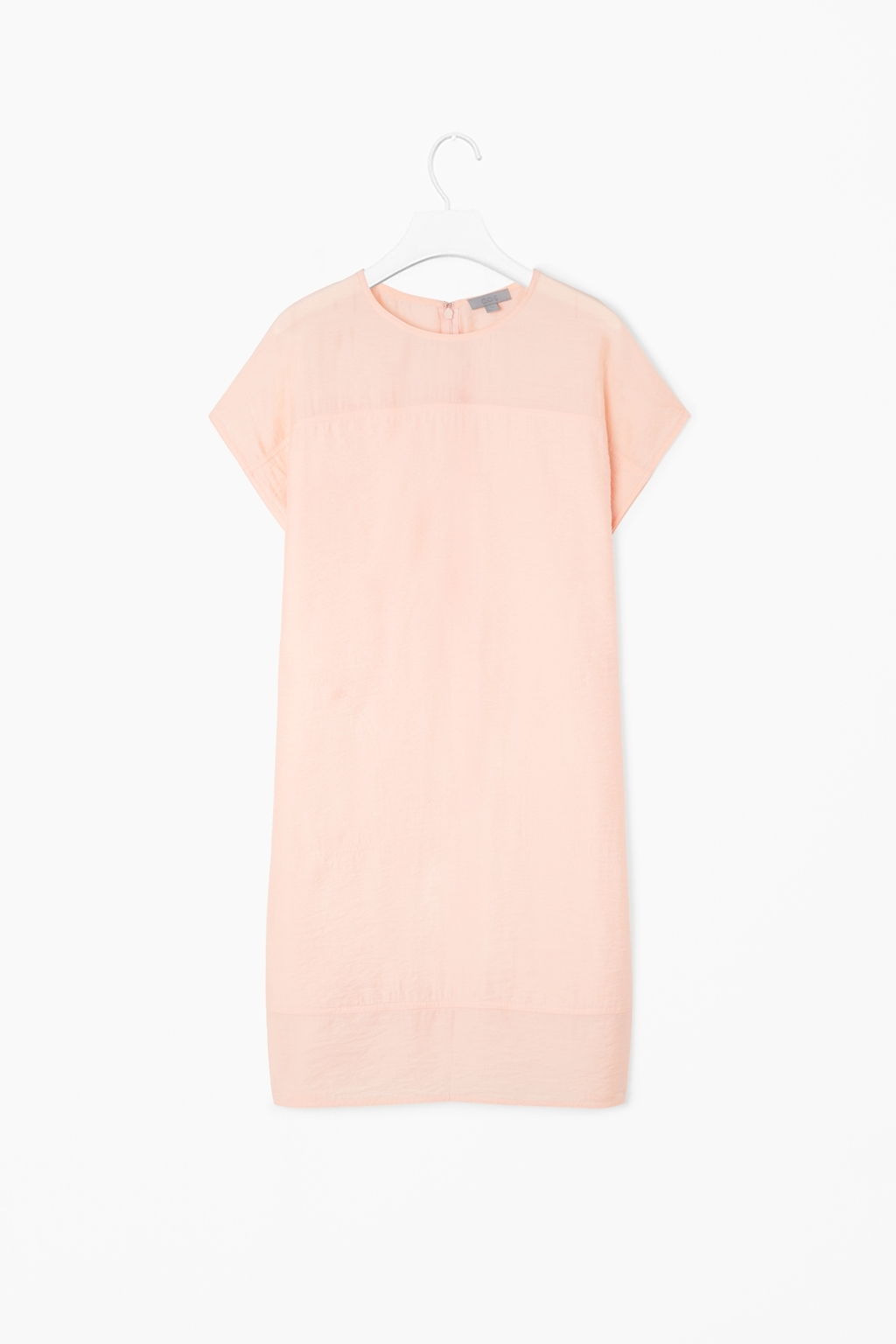 Round Neck Dress - style: t-shirt; length: mid thigh; fit: loose; pattern: plain; predominant colour: nude; occasions: casual, evening, occasion; neckline: crew; sleeve length: short sleeve; sleeve style: standard; pattern type: fabric; texture group: other - light to midweight; fibres: viscose/rayon - mix; trends: sorbet shades; season: s/s 2014