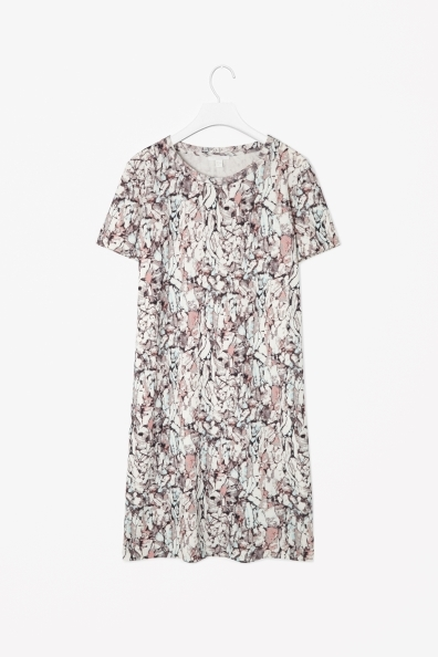 Printed Jersey Dress - style: t-shirt; length: mid thigh; neckline: round neck; fit: loose; occasions: casual, creative work; fibres: cotton - 100%; predominant colour: multicoloured; sleeve length: short sleeve; sleeve style: standard; pattern type: fabric; pattern size: standard; pattern: patterned/print; texture group: jersey - stretchy/drapey; season: s/s 2014; multicoloured: multicoloured
