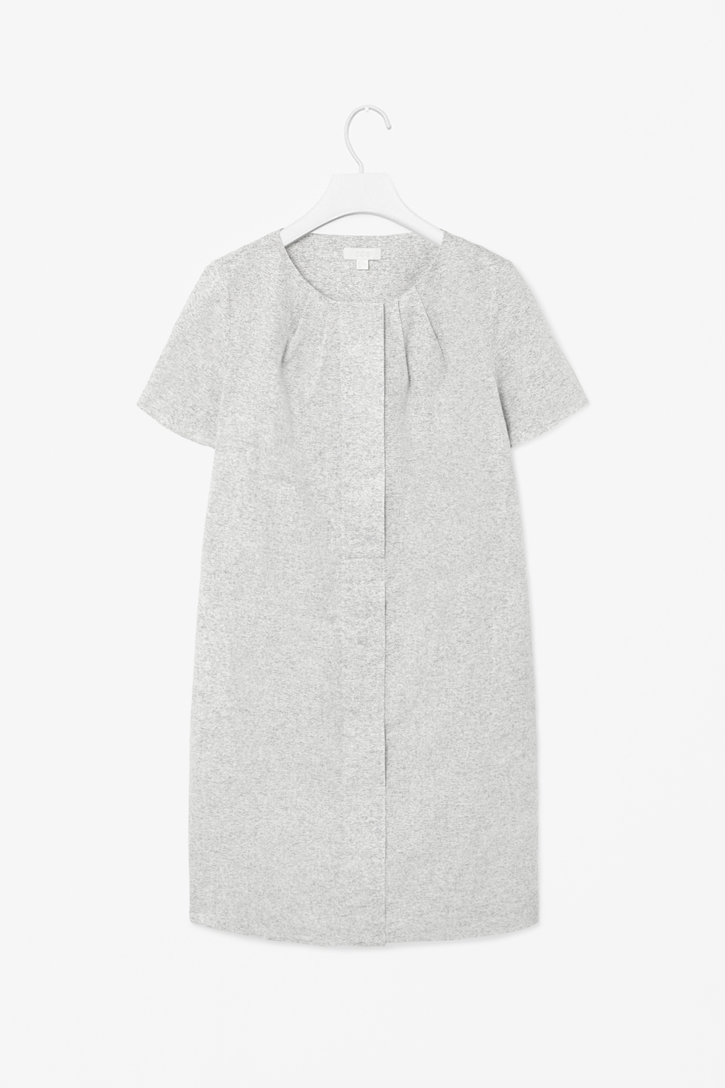 Cotton And Linen Dress - style: t-shirt; neckline: round neck; predominant colour: ivory/cream; secondary colour: mid grey; occasions: casual; length: just above the knee; fit: straight cut; fibres: cotton - mix; sleeve length: short sleeve; sleeve style: standard; texture group: cotton feel fabrics; bust detail: tiers/frills/bulky drapes/pleats; pattern type: fabric; pattern size: standard; pattern: patterned/print; season: s/s 2014