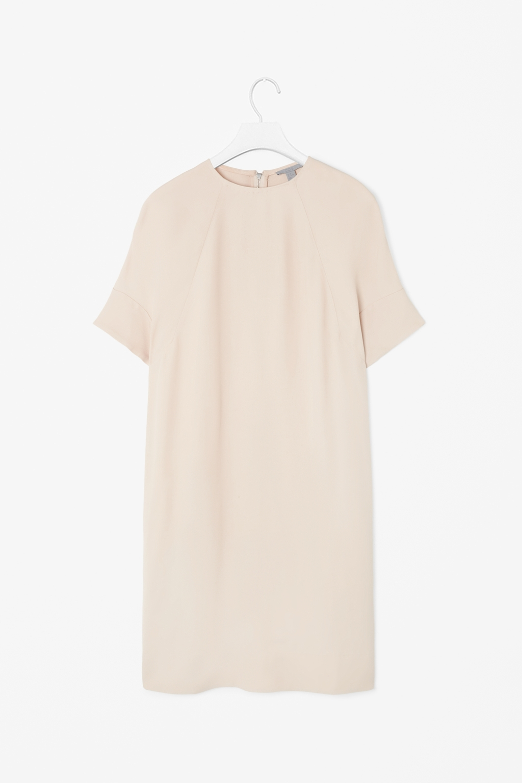 Rounded Shoulder Dress - style: t-shirt; fit: loose; pattern: plain; predominant colour: stone; occasions: casual, evening, creative work; length: just above the knee; fibres: viscose/rayon - 100%; neckline: crew; sleeve length: short sleeve; sleeve style: standard; texture group: crepes; pattern type: fabric; season: s/s 2014