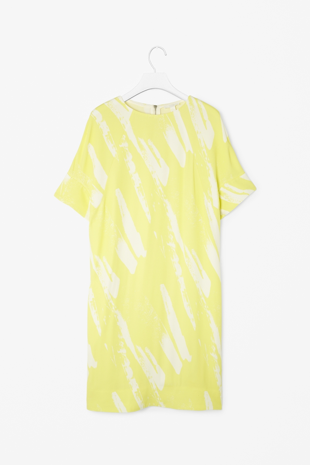 Rounded Shoulder Dress - style: t-shirt; fit: loose; secondary colour: white; predominant colour: primrose yellow; occasions: casual, evening, occasion, creative work; length: just above the knee; fibres: viscose/rayon - 100%; neckline: crew; sleeve length: short sleeve; sleeve style: standard; texture group: crepes; pattern type: fabric; pattern size: standard; pattern: patterned/print; trends: sorbet shades, art-party prints; season: s/s 2014