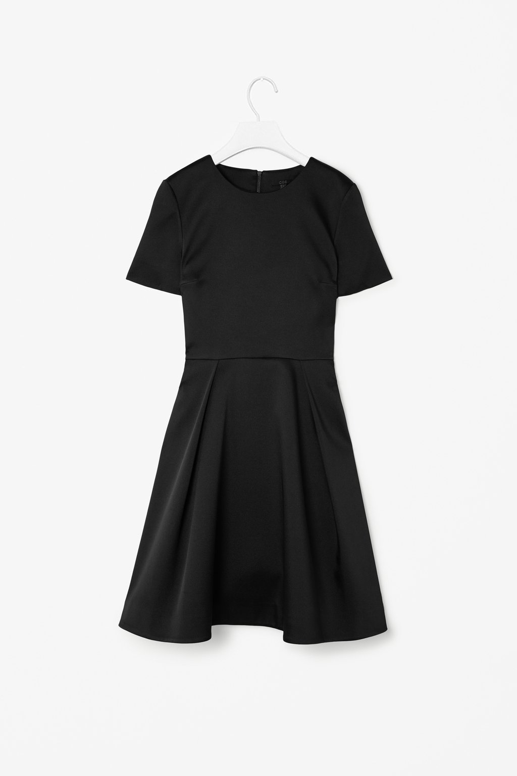 Satin Pleated Dress - pattern: plain; style: prom dress; predominant colour: black; occasions: evening, work, occasion, creative work; length: just above the knee; fit: fitted at waist & bust; fibres: polyester/polyamide - stretch; neckline: crew; hip detail: adds bulk at the hips; sleeve length: short sleeve; sleeve style: standard; texture group: structured shiny - satin/tafetta/silk etc.; pattern type: fabric; season: s/s 2014