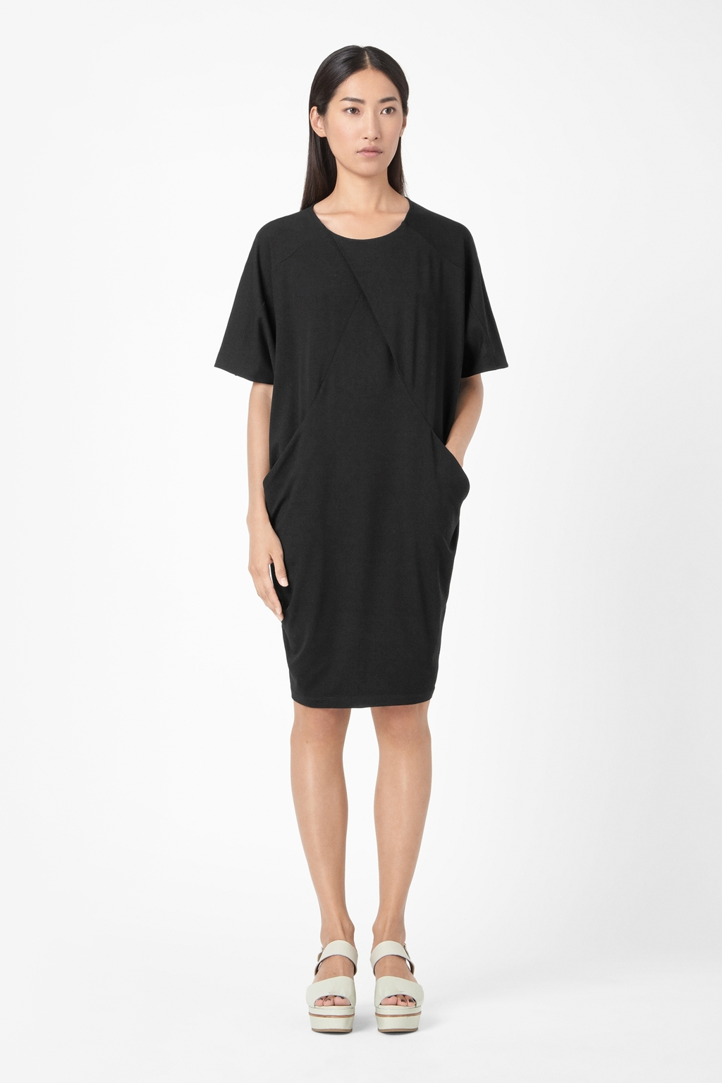 Oversized Jersey Dress - style: shift; neckline: round neck; fit: loose; pattern: plain; predominant colour: black; occasions: casual, evening; length: on the knee; fibres: viscose/rayon - stretch; sleeve length: half sleeve; sleeve style: standard; pattern type: fabric; texture group: jersey - stretchy/drapey; season: s/s 2014