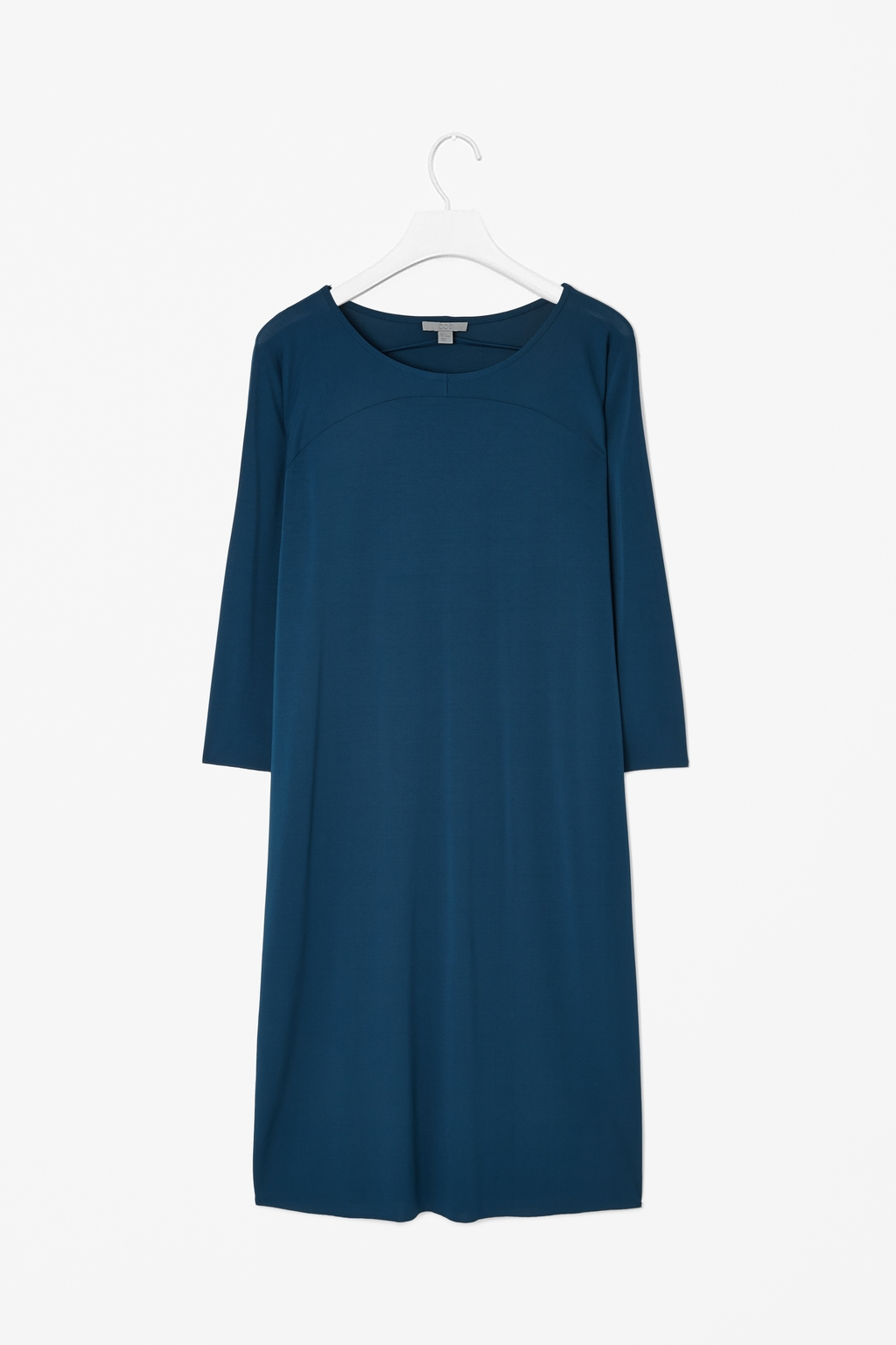 Curved Panel Dress - style: shift; neckline: round neck; fit: loose; pattern: plain; predominant colour: navy; occasions: casual, evening; length: just above the knee; fibres: viscose/rayon - stretch; sleeve length: 3/4 length; sleeve style: standard; pattern type: fabric; texture group: jersey - stretchy/drapey; season: s/s 2014
