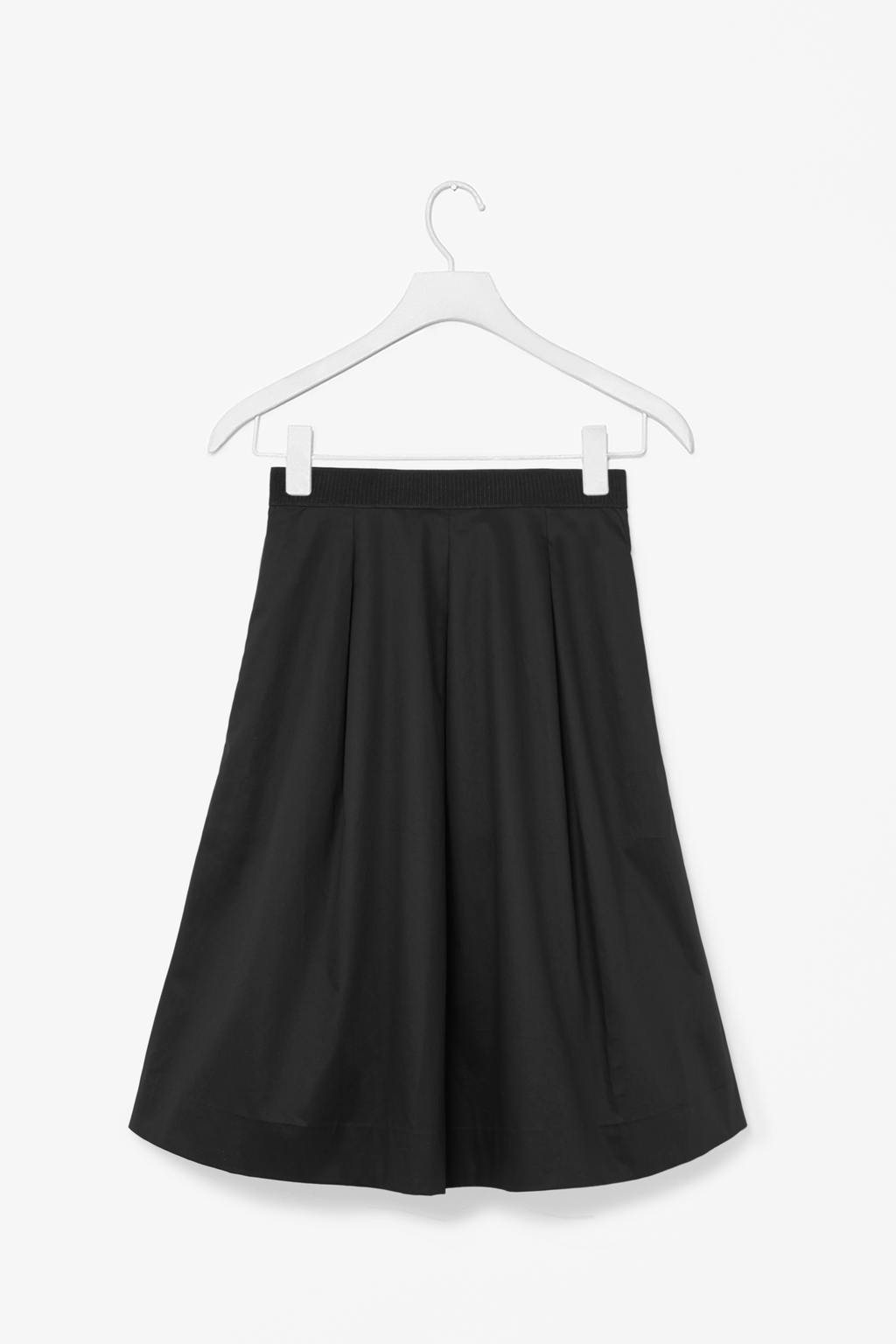 Skirt With Box Pleats - pattern: plain; style: full/prom skirt; fit: loose/voluminous; waist: high rise; predominant colour: black; occasions: casual, creative work; length: on the knee; fibres: cotton - 100%; hip detail: structured pleats at hip; texture group: cotton feel fabrics; pattern type: fabric; season: s/s 2014