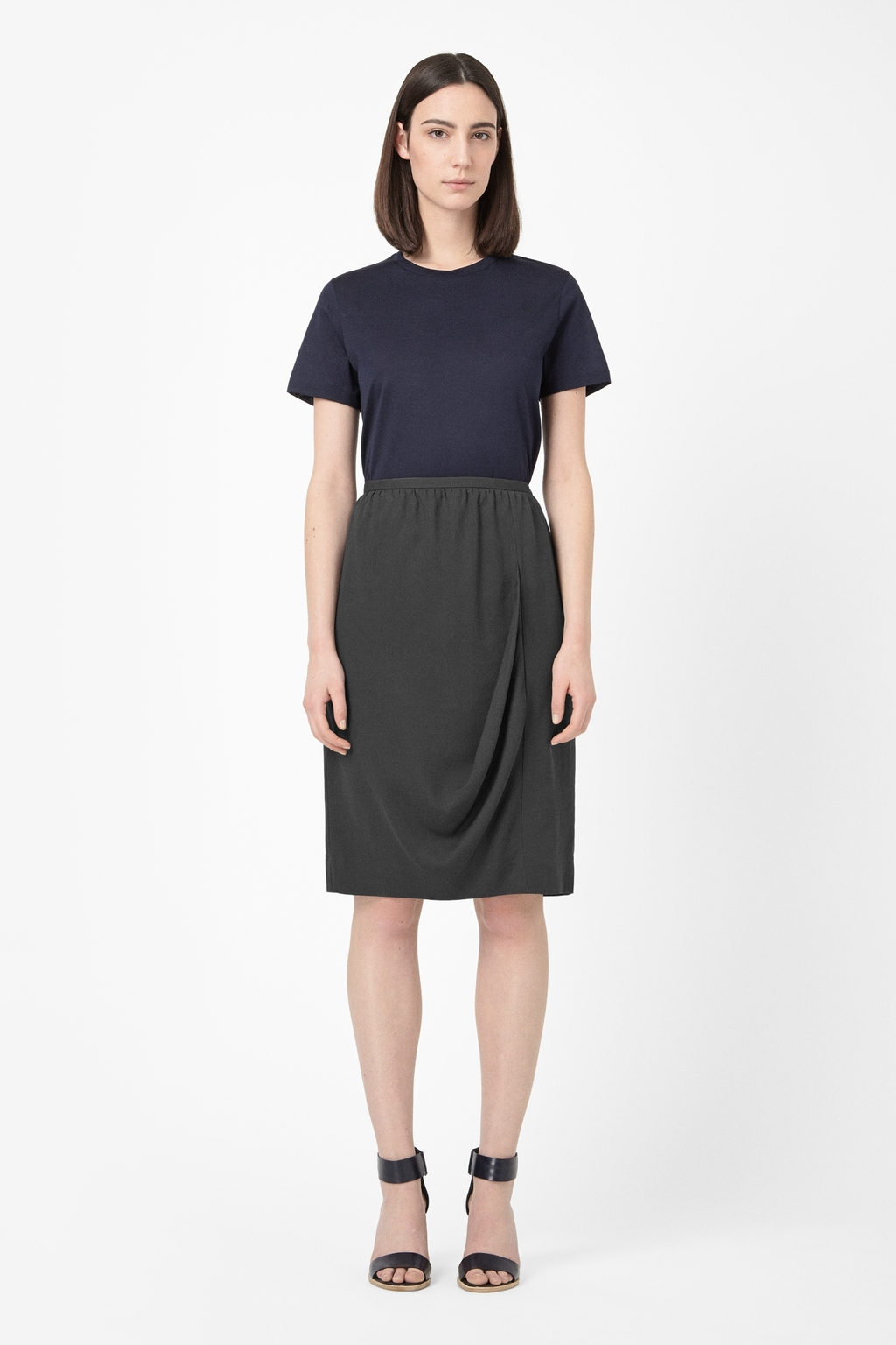 Front Drape Skirt - pattern: plain; style: straight; waist: high rise; predominant colour: charcoal; occasions: casual, creative work; length: on the knee; fibres: viscose/rayon - 100%; hip detail: subtle/flattering hip detail; fit: straight cut; pattern type: fabric; texture group: woven light midweight; season: s/s 2014