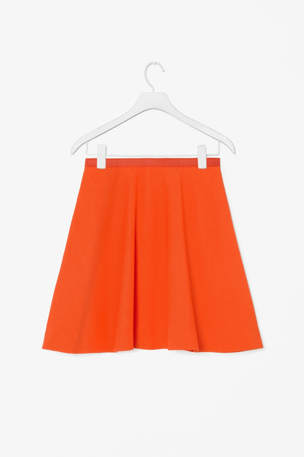Flared Skirt - pattern: plain; fit: loose/voluminous; waist detail: elasticated waist; waist: high rise; predominant colour: bright orange; occasions: casual, creative work; length: just above the knee; style: a-line; hip detail: subtle/flattering hip detail; pattern type: fabric; texture group: other - light to midweight; fibres: viscose/rayon - mix; season: s/s 2014; wardrobe: highlight