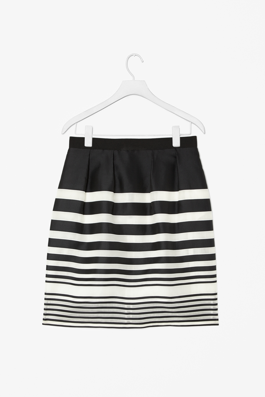 Sheer Stripe Skirt - style: straight; waist: high rise; secondary colour: white; predominant colour: black; occasions: evening, occasion, creative work; length: just above the knee; fibres: silk - mix; hip detail: adds bulk at the hips; fit: straight cut; pattern type: fabric; texture group: other - light to midweight; season: s/s 2014; trends: monochrome; pattern size: standard (bottom); pattern: horizontal stripes (bottom)