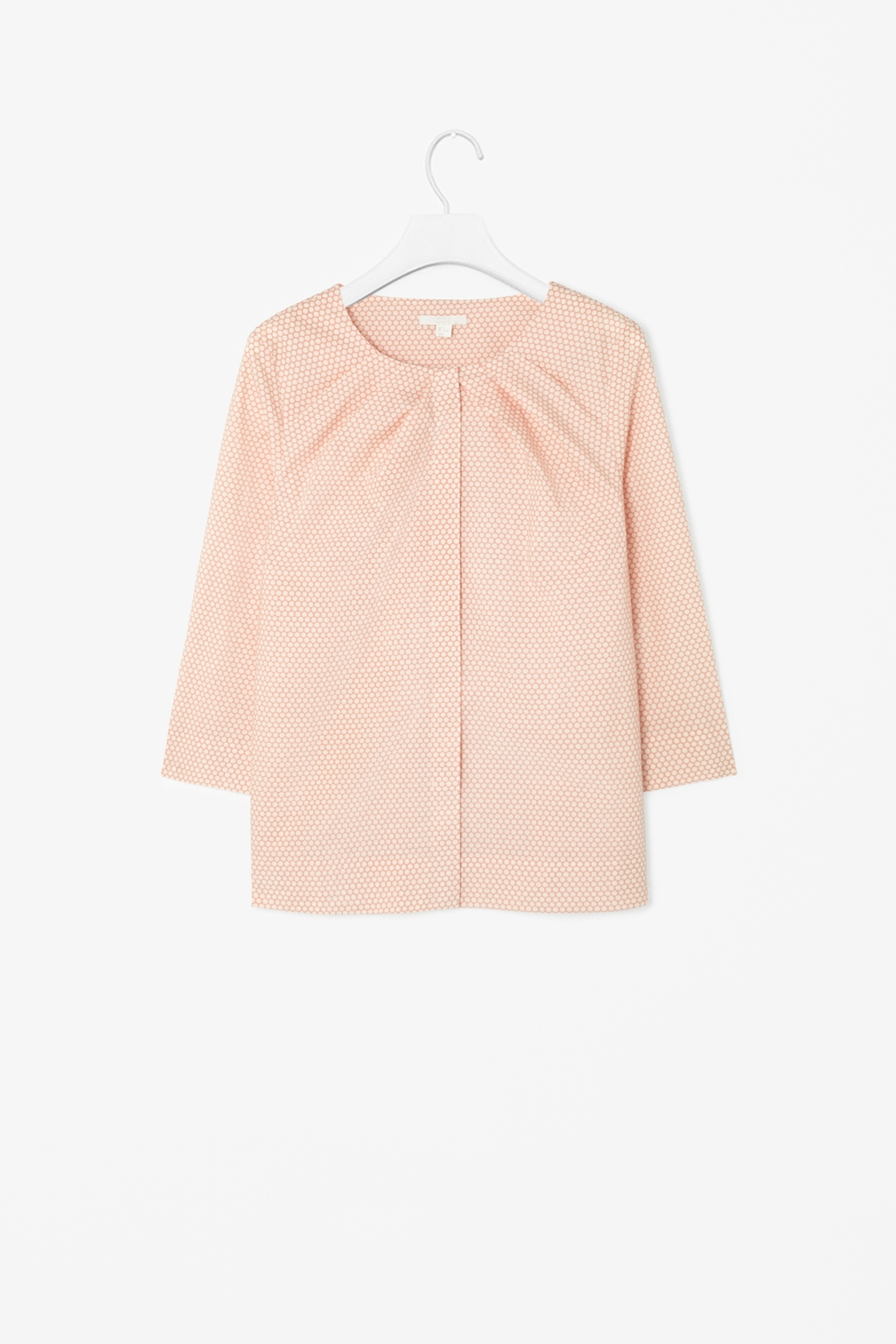 Printed Cotton Top - neckline: round neck; pattern: plain; style: blouse; predominant colour: pink; secondary colour: nude; occasions: casual; length: standard; fibres: cotton - 100%; fit: straight cut; sleeve length: 3/4 length; sleeve style: standard; texture group: cotton feel fabrics; bust detail: bulky details at bust; pattern type: fabric; season: s/s 2014; wardrobe: highlight