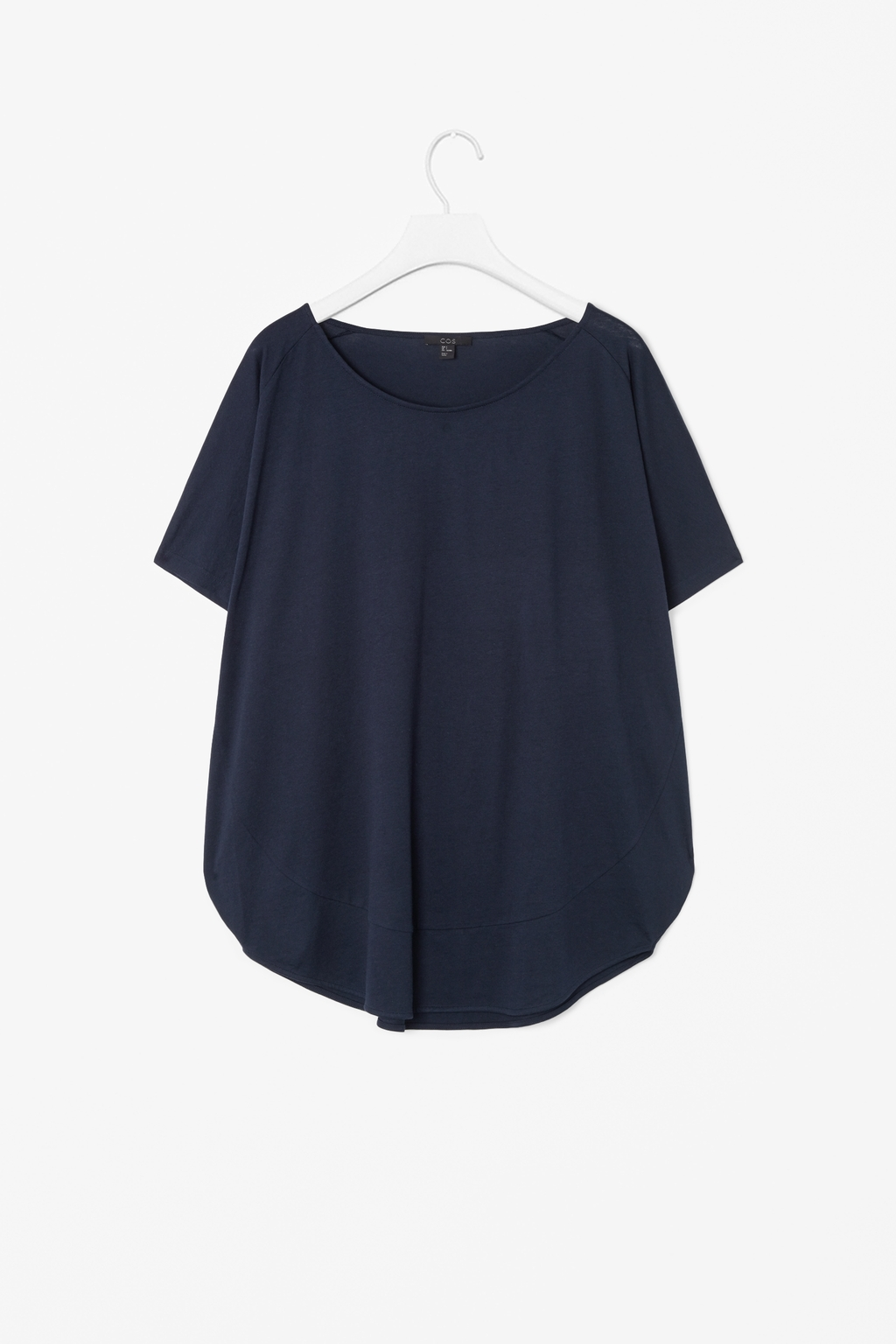 Circle Cut Jersey Top - neckline: round neck; pattern: plain; style: t-shirt; predominant colour: navy; occasions: casual; length: standard; fibres: cotton - mix; fit: loose; sleeve length: short sleeve; sleeve style: standard; pattern type: fabric; texture group: jersey - stretchy/drapey; season: s/s 2014