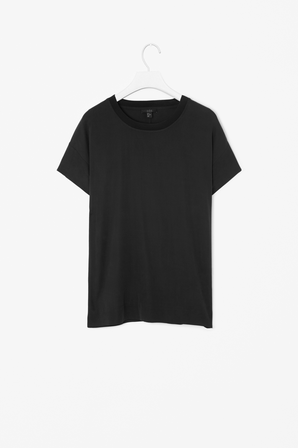 Boxy Silk T Shirt - pattern: plain; style: t-shirt; predominant colour: black; occasions: casual, evening; length: standard; fit: loose; neckline: crew; sleeve length: short sleeve; sleeve style: standard; texture group: silky - light; pattern type: fabric; fibres: silk - stretch; season: s/s 2014