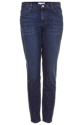 Moto Slim Lucas Boyfriend Jeans - style: boyfriend; pattern: plain; waist: low rise; pocket detail: traditional 5 pocket; predominant colour: navy; occasions: casual; length: ankle length; fibres: cotton - stretch; jeans detail: whiskering, shading down centre of thigh; texture group: denim; pattern type: fabric; season: s/s 2014