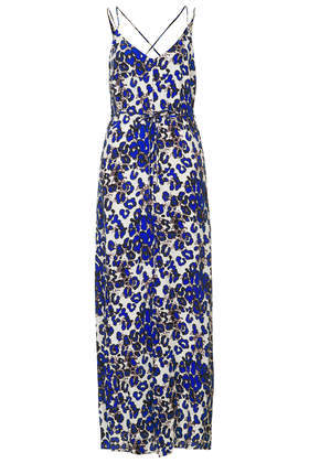 Island Animal Print Maxi Dress - neckline: v-neck; sleeve style: spaghetti straps; style: maxi dress; waist detail: belted waist/tie at waist/drawstring; secondary colour: white; predominant colour: royal blue; occasions: casual, evening; length: floor length; fit: body skimming; fibres: viscose/rayon - 100%; back detail: crossover; sleeve length: sleeveless; texture group: cotton feel fabrics; pattern type: fabric; pattern size: big & busy; pattern: animal print; trends: world traveller; season: s/s 2014