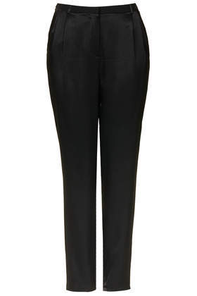 Satin Trousers - length: standard; pattern: plain; style: peg leg; waist: mid/regular rise; predominant colour: black; occasions: evening, work, occasion; texture group: structured shiny - satin/tafetta/silk etc.; fit: tapered; pattern type: fabric; fibres: viscose/rayon - mix; season: s/s 2014