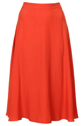 Full Circle Midi Skirt - length: below the knee; pattern: plain; style: full/prom skirt; fit: loose/voluminous; waist: high rise; predominant colour: bright orange; occasions: casual, creative work; fibres: polyester/polyamide - 100%; pattern type: fabric; texture group: other - light to midweight; trends: hot brights; season: s/s 2014