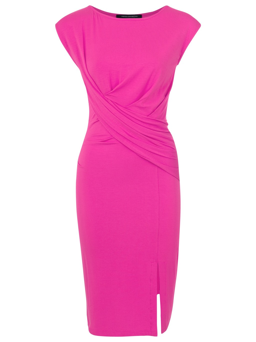 Twisted Sister Jersey Dress, Spring Break - style: shift; neckline: round neck; sleeve style: capped; pattern: plain; waist detail: flattering waist detail; bust detail: subtle bust detail; predominant colour: hot pink; occasions: evening, occasion; length: on the knee; fit: body skimming; fibres: viscose/rayon - stretch; sleeve length: short sleeve; pattern type: fabric; texture group: jersey - stretchy/drapey; season: s/s 2014; wardrobe: event