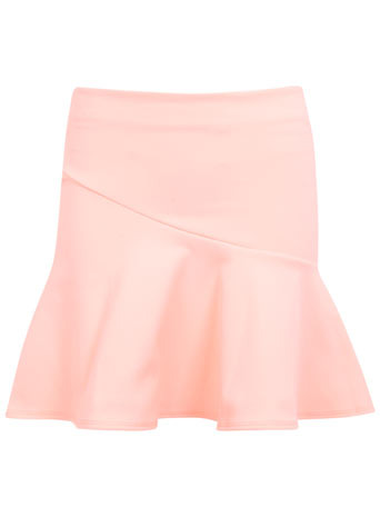 Petites Pink Trumpet Skirt - length: mid thigh; pattern: plain; fit: tailored/fitted; waist: high rise; predominant colour: blush; occasions: evening; style: fit & flare; fibres: polyester/polyamide - stretch; pattern type: fabric; texture group: jersey - stretchy/drapey; season: s/s 2014
