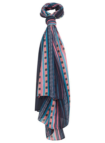 Bright Multi Stripe Scarf - predominant colour: pink; secondary colour: navy; occasions: casual, work, creative work; type of pattern: heavy; style: regular; size: standard; material: fabric; pattern: patterned/print; season: s/s 2014
