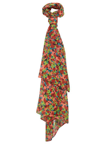 Neon Flower Scarf - occasions: casual, work, creative work; predominant colour: multicoloured; type of pattern: standard; style: regular; size: standard; material: fabric; pattern: florals; trends: furious florals; season: s/s 2014; multicoloured: multicoloured