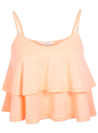 Coral Double Layer Cami - sleeve style: spaghetti straps; pattern: plain; length: cropped; style: camisole; bust detail: ruching/gathering/draping/layers/pintuck pleats at bust; predominant colour: coral; occasions: casual, evening, holiday; neckline: scoop; fibres: cotton - mix; fit: loose; sleeve length: sleeveless; pattern type: fabric; texture group: jersey - stretchy/drapey; trends: sorbet shades; season: s/s 2014