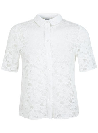 Short Sleeve Lace Shirt. - neckline: shirt collar/peter pan/zip with opening; style: shirt; predominant colour: white; occasions: casual, evening, work, creative work; length: standard; fibres: polyester/polyamide - 100%; fit: body skimming; sleeve length: short sleeve; sleeve style: standard; texture group: lace; pattern type: fabric; pattern: patterned/print; embellishment: lace; trends: lace; season: s/s 2014